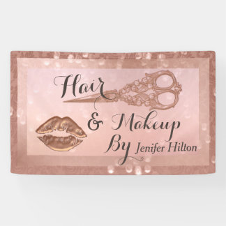 Rose gold damask bokeh scissors lips banner
