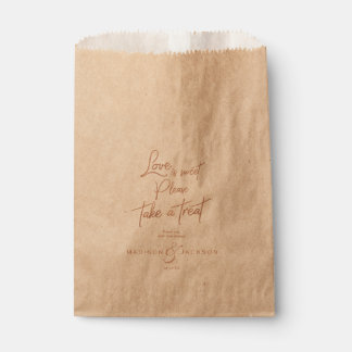 Rose Gold Faux Foil Love is Sweet Take a Treat Favour Bags