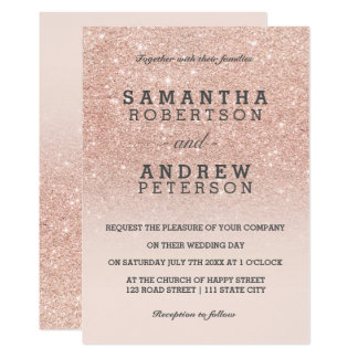 Rose gold faux glitter pink ombre wedding card