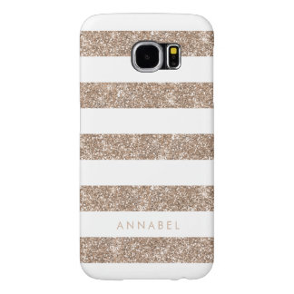 Rose Gold Faux Glitter & White Stripe Personalised Samsung Galaxy S6 Cases