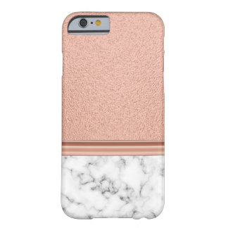Rose Gold Foil on Marble Barely There iPhone 6 Case
