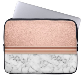 Rose Gold Foil on Marble Laptop Sleeve