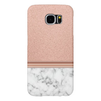 Rose Gold Foil on Marble Samsung Galaxy S6 Cases