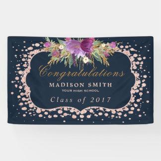 Rose Gold Glitter Confetti Floral Graduation