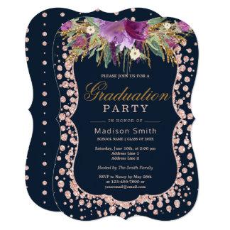 Rose Gold Glitter Confetti Glam Floral Grad Party