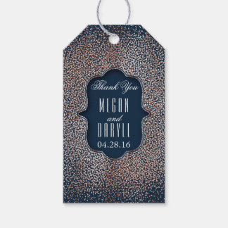 Rose Gold Glitter Confetti Vintage Navy Wedding