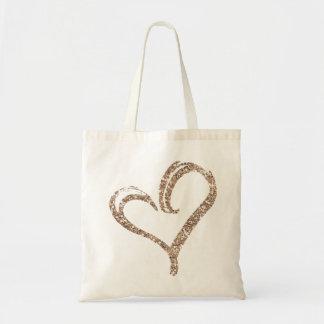 Rose Gold Glitter Love Heart Modern Wedding Tote