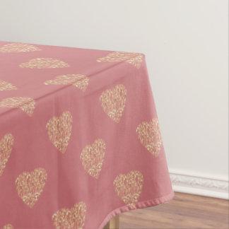 rose gold glitter love hearts polka dots pattern tablecloth