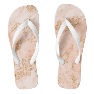 Rose gold glitter marble abstract jandals