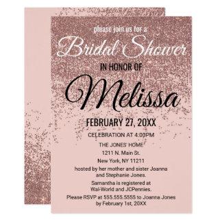 Rose Gold Glitter Sparkle Blush Pink Bridal Shower Card