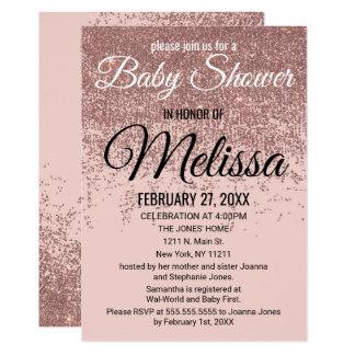 Rose Gold Glitter Sparkles Blush Pink Baby Shower Card
