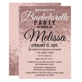 Rose Gold Glitter Sparkles Blush Pink Bachelorette Card