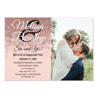 Rose Gold Glitter Sparkles Blush Pink Engagement Card