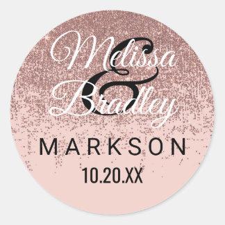 Rose Gold Glitter Sparkles Blush Pink Wedding Classic Round Sticker