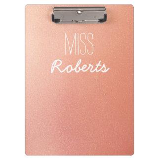 Rose Gold Glitter Teacher Customisable Clipboard