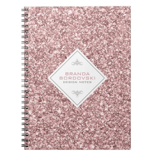 Rose Gold Glitter With White Geometric Accent Spiral Notebook