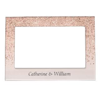 Rose Gold Glittery Wedding Magnetic Photo Frame