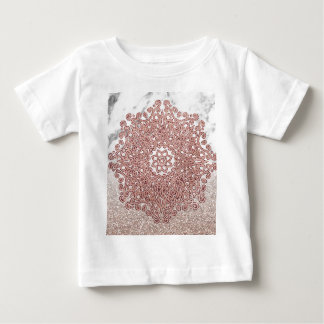 Rose gold mandala marble glitter ombre baby T-Shirt