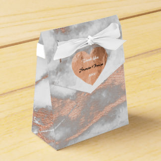 Rose Gold Marble Copper Heart 16th Wedding Favour Wedding Favour Box