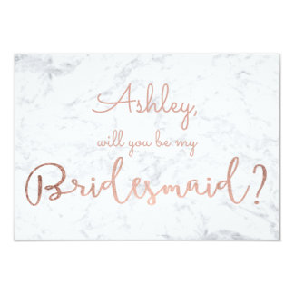 Rose gold marble script be my Bridesmaid Card