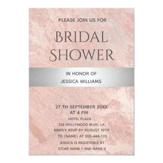 Rose gold marble silver stripe bridal shower card