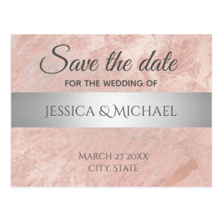 Rose gold marble silver stripe save the date postcard