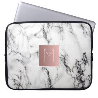 rose gold monogram on marble laptop sleeve