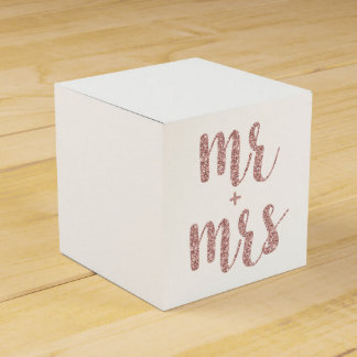 Rose gold Mr. & Mrs. favor boxes, glitter Wedding Favour Boxes