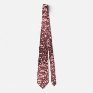 Rose Gold Pink Faux Glitter Sparkle Pattern Tie