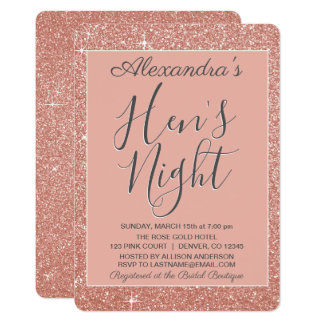 Rose Gold Sparkle Glitter Hen's Night Party Card