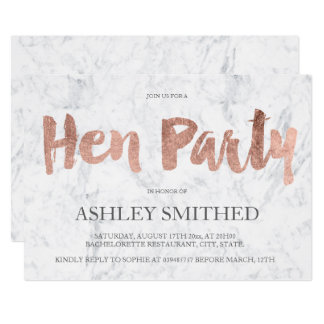 Rose gold typography marble hen party card