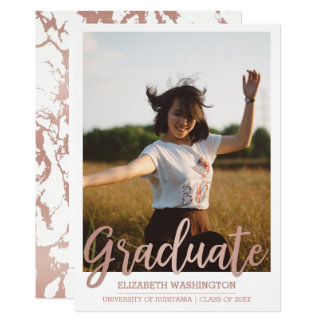 Rose Gold & White Typography | Photo Graduation Card