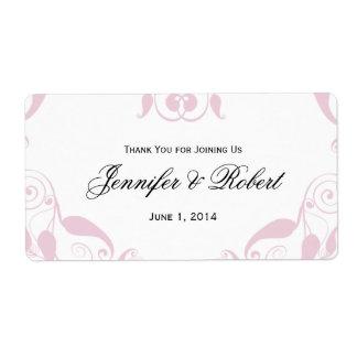 Rose Heart Floral Wedding Water Bottle Label