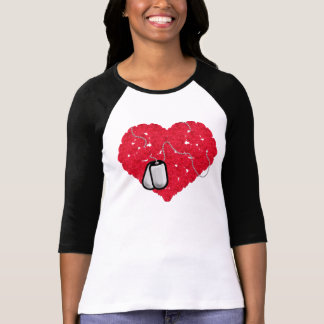 Rose Heart with Dog Tags T-Shirt