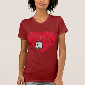 Rose Heart with Dog Tags Tshirt