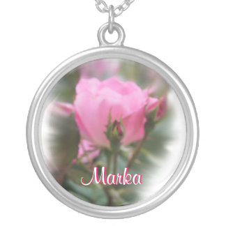 Rose Name Necklace- personalize as desired Silver Plated Necklace