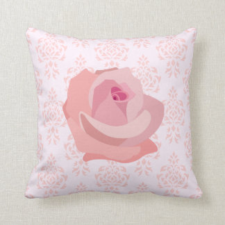 Rose on Damask Crest Pattern in Pinks Cushion