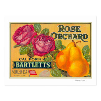 Rose Orchard Pear Crate Label Postcards