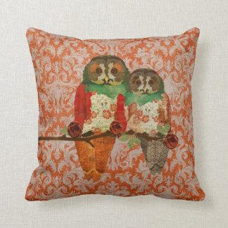 Rose Owls Amber Damask  MoJo Pillow