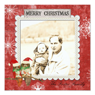 Rose Owls Red Christmas Photo Card Personalized Invites