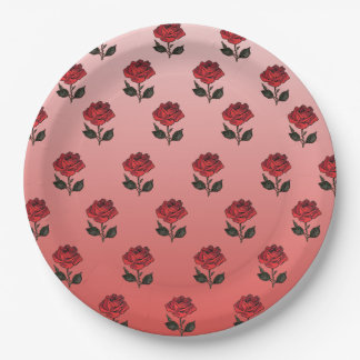 Rose Pattern Paper Plate 9 Inch Paper Plate