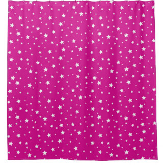 Rose Pink and White Stars Celestial Sky Shower Curtain