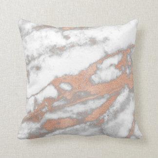 Rose Pink Gold Metallic Glitter Marble Grey Copper Throw Pillow