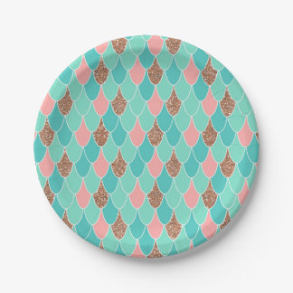 Rose Pink Mermaid Party Paper Plates
