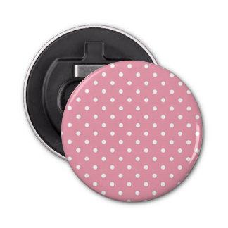 Rose Pink Polka Dot Bottle Opener Button Bottle Opener