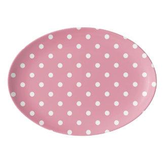 Rose Pink Polka Dot Platter Porcelain Serving Platter