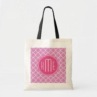 Rose Pink Quatrefoil with Custom Monogram