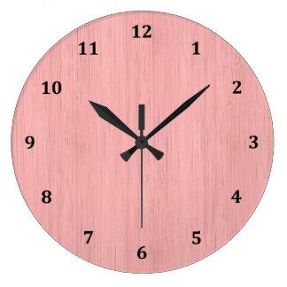 Rose Quartz Bamboo Wood Grain Look Large Clock
