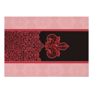 Rose Red Indian Floral Ornament Wedding Invitation