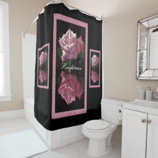 Rose Reflections with Family Name Shower Curtain
